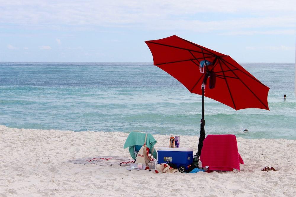 red and white patio umbrella