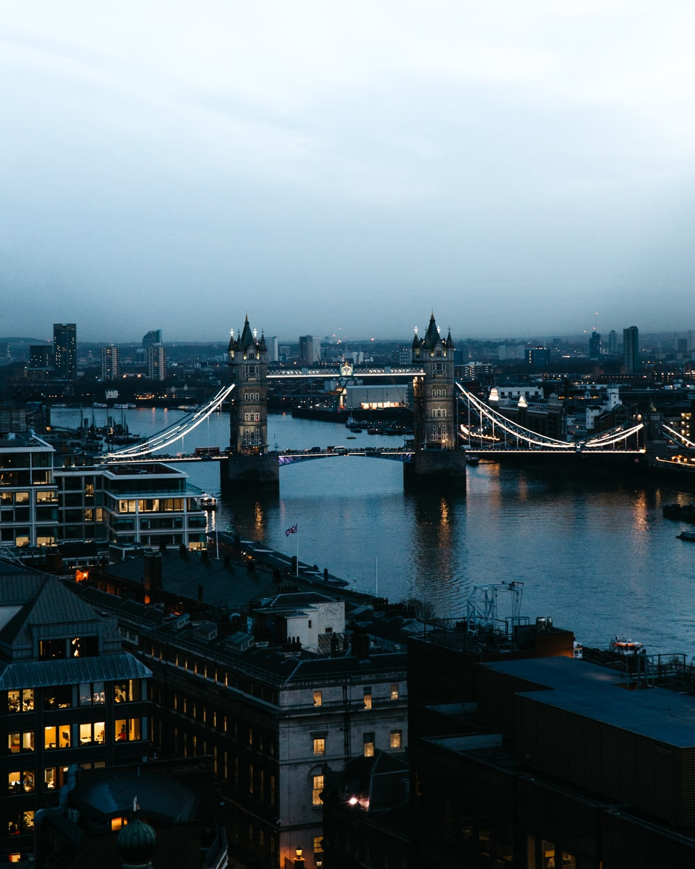 view of Tower Bridge under white skies