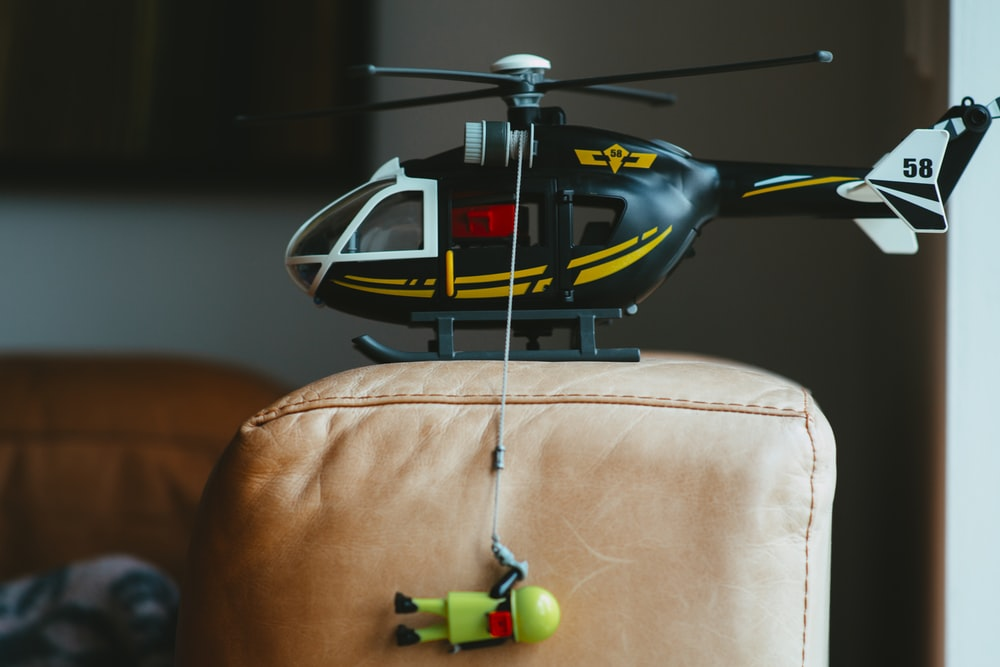 black and white helicopter toy
