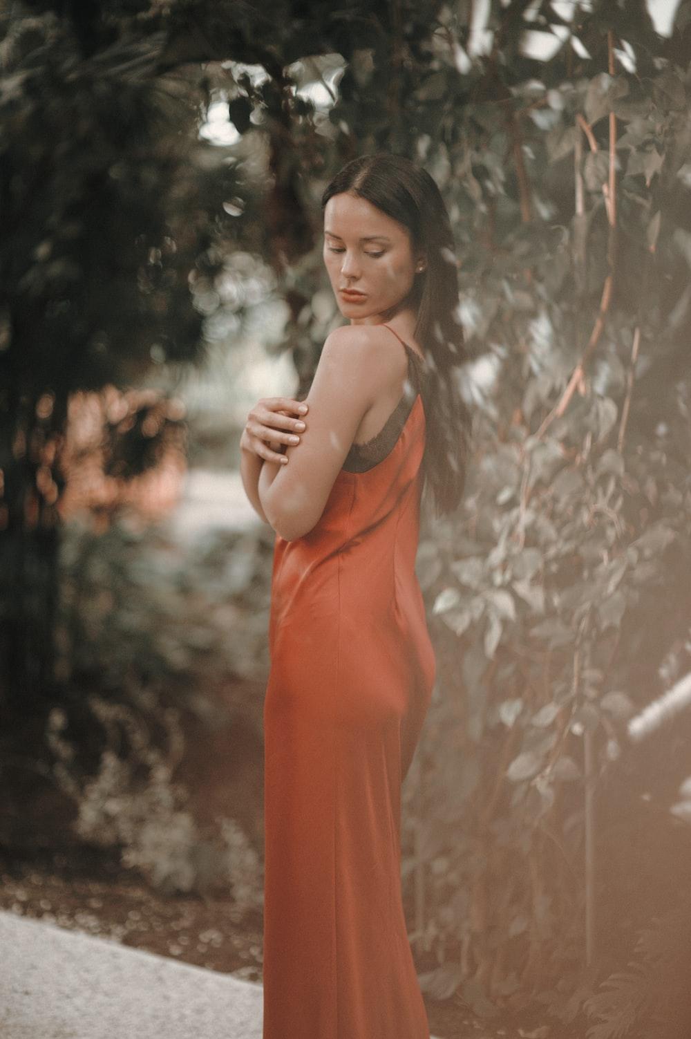 women's red satin long-dress