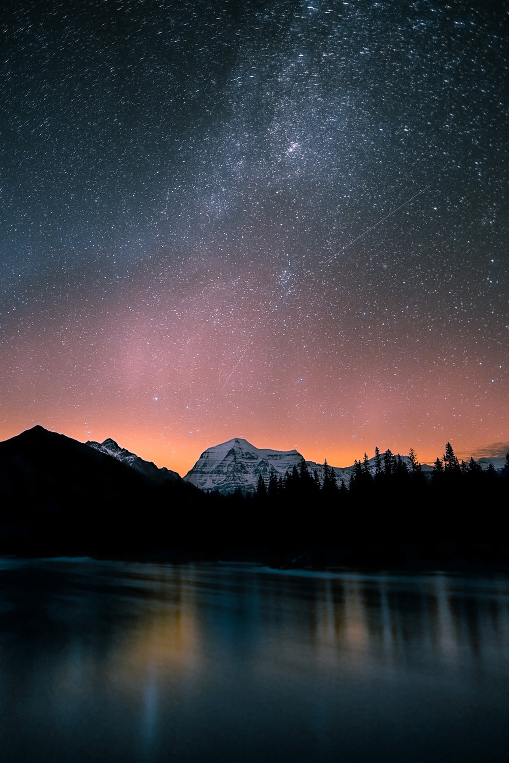 lake surrounded by trees and mountain under milky way
