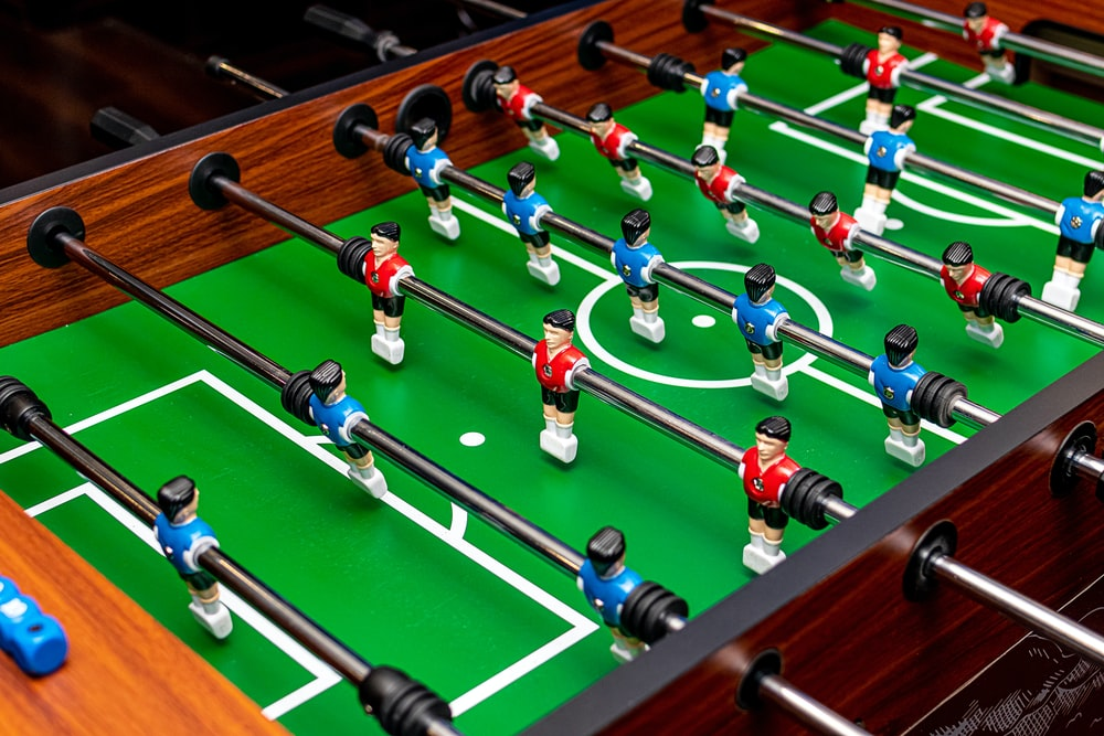 green foosball table