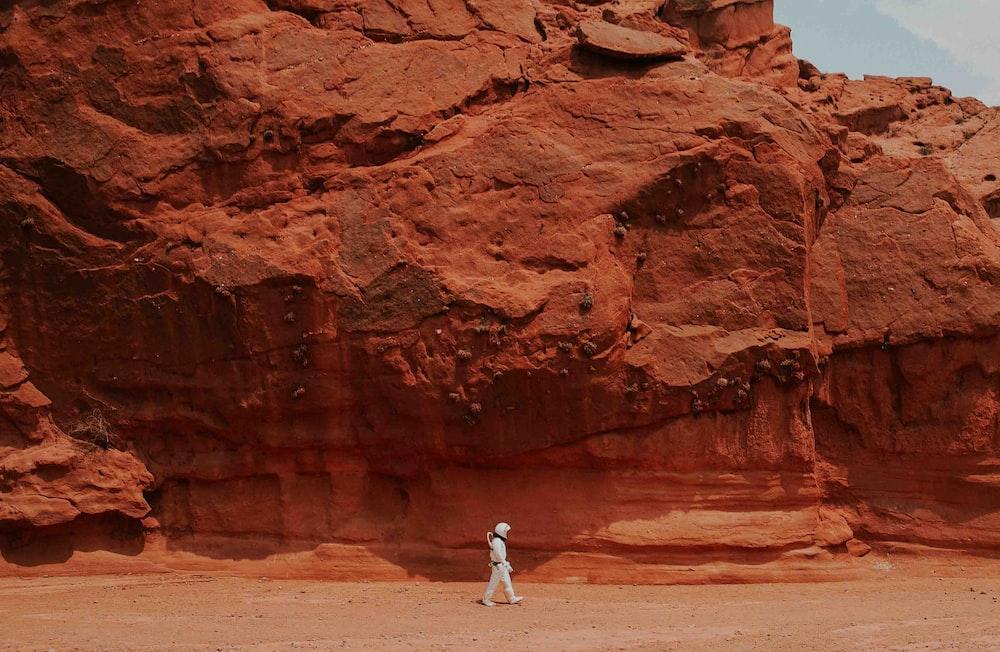 person walking near brown rock
