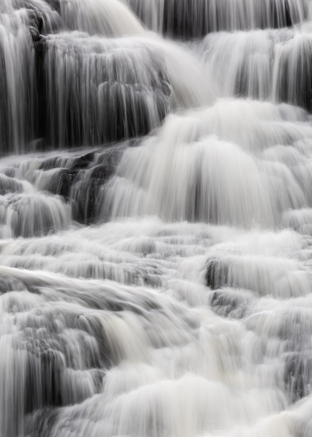 waterfalls and black and gray waterfalls