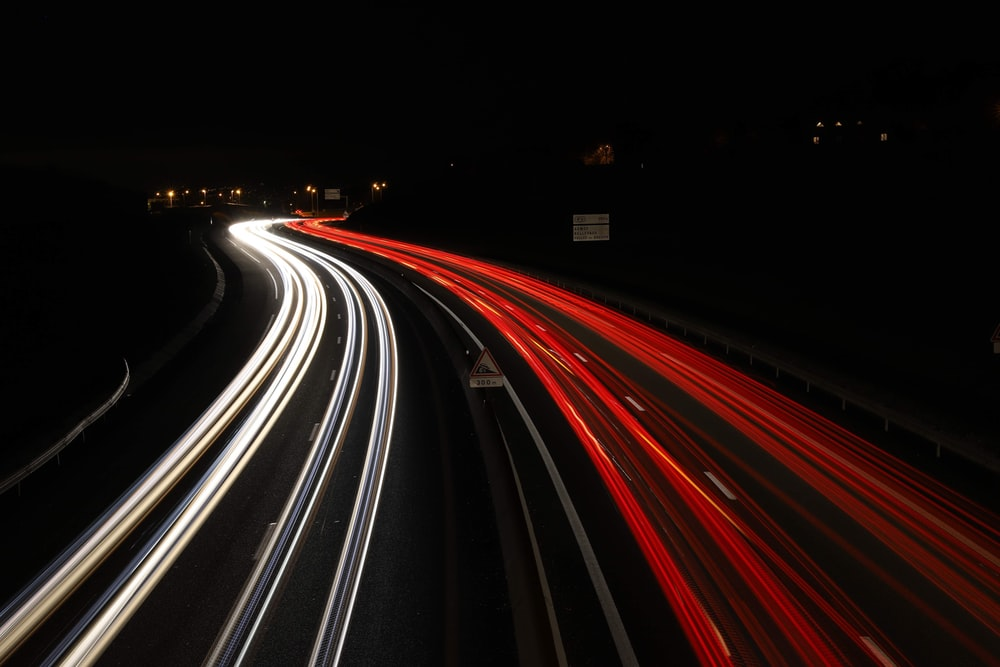 light streaks of vehicles on road