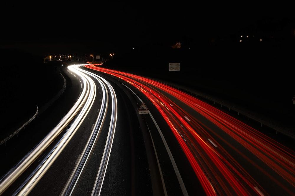light streaks of vehicles on road
