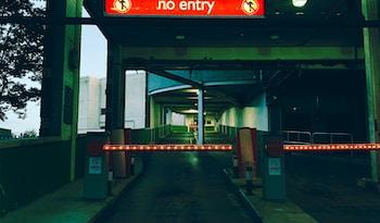no entry turned-on light signage