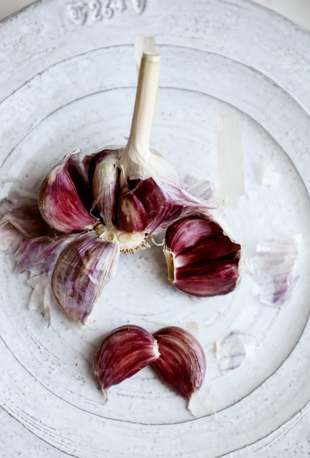 garlic on white plate