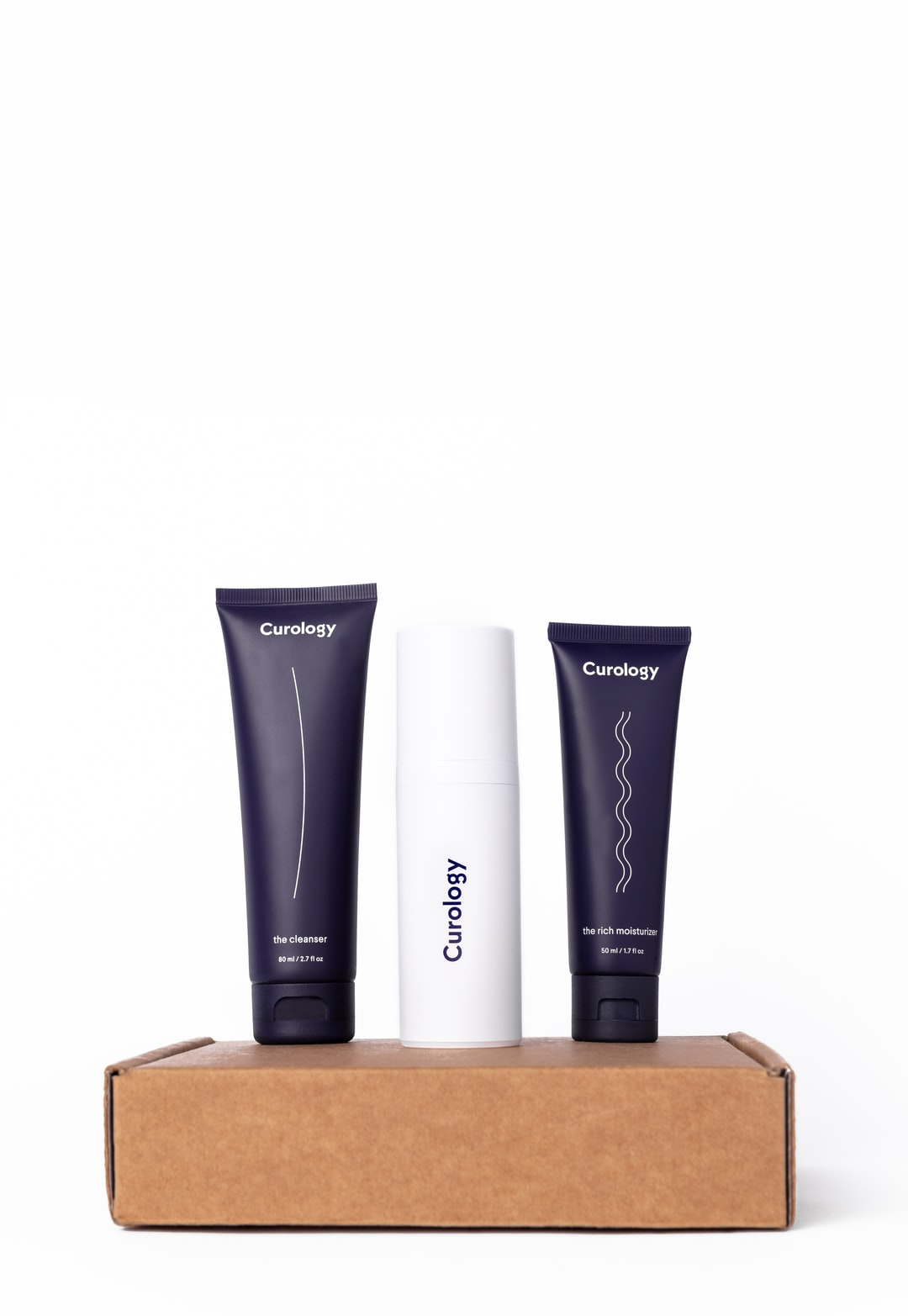 curology product set on box with white background