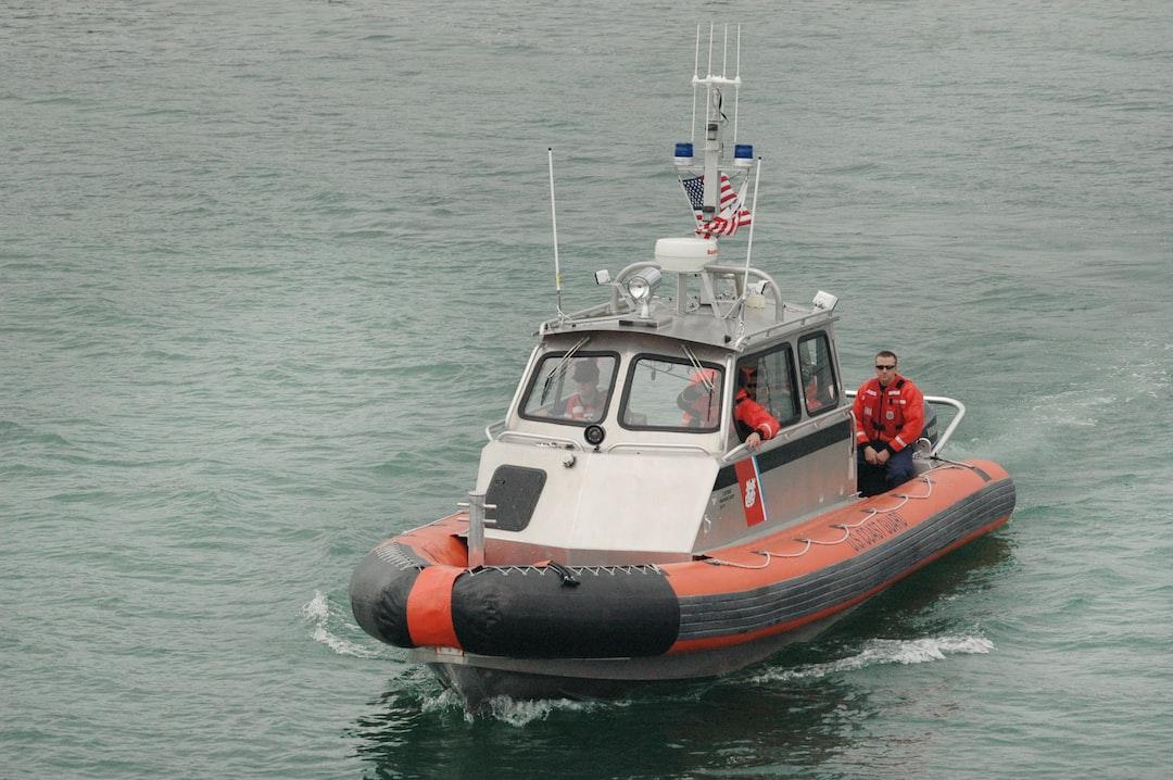 The U.S. Coast Guard boat patrols Lake Michigan near Washington Island, Door County, Wisconsin in the summer.