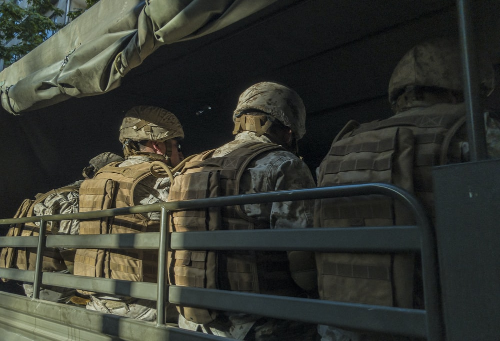 soldiers in truck