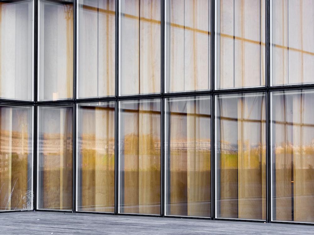 clear glass curtain wall