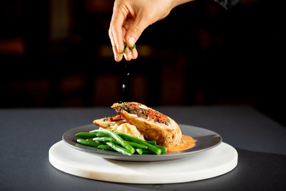 sandwich with asparagus on plate