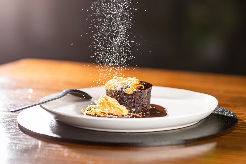 chocolate on white plate