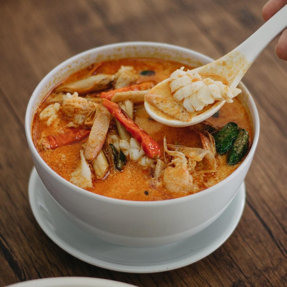 crab soup on white ceramic bowl