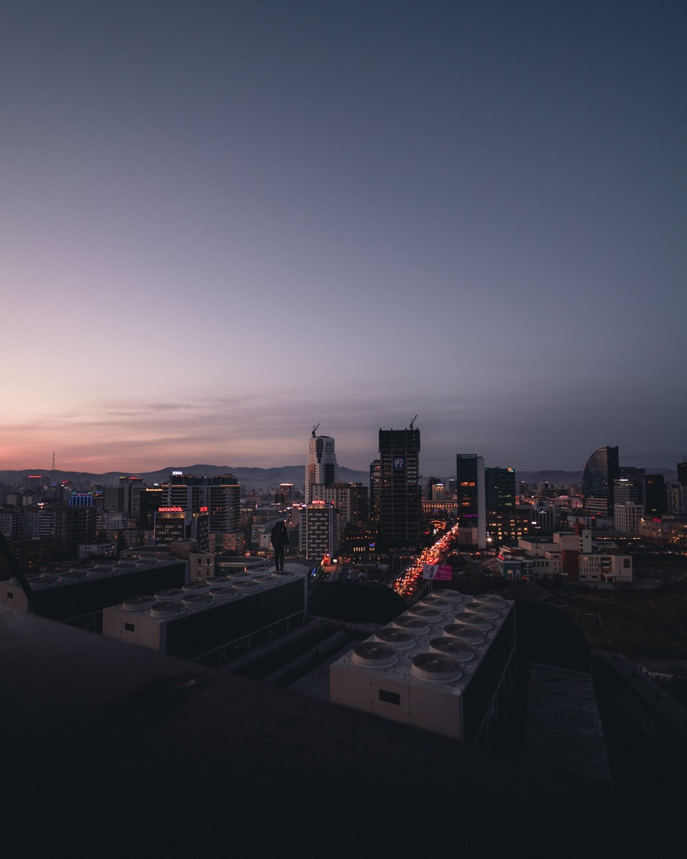 cityscape during sunset