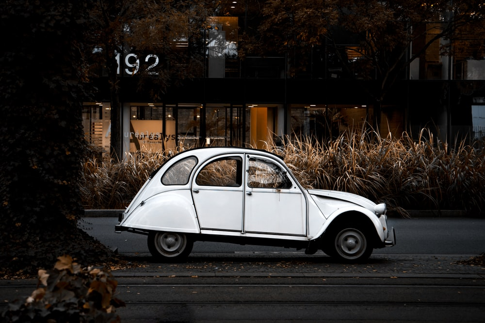 white Volkswagen Beetle near road