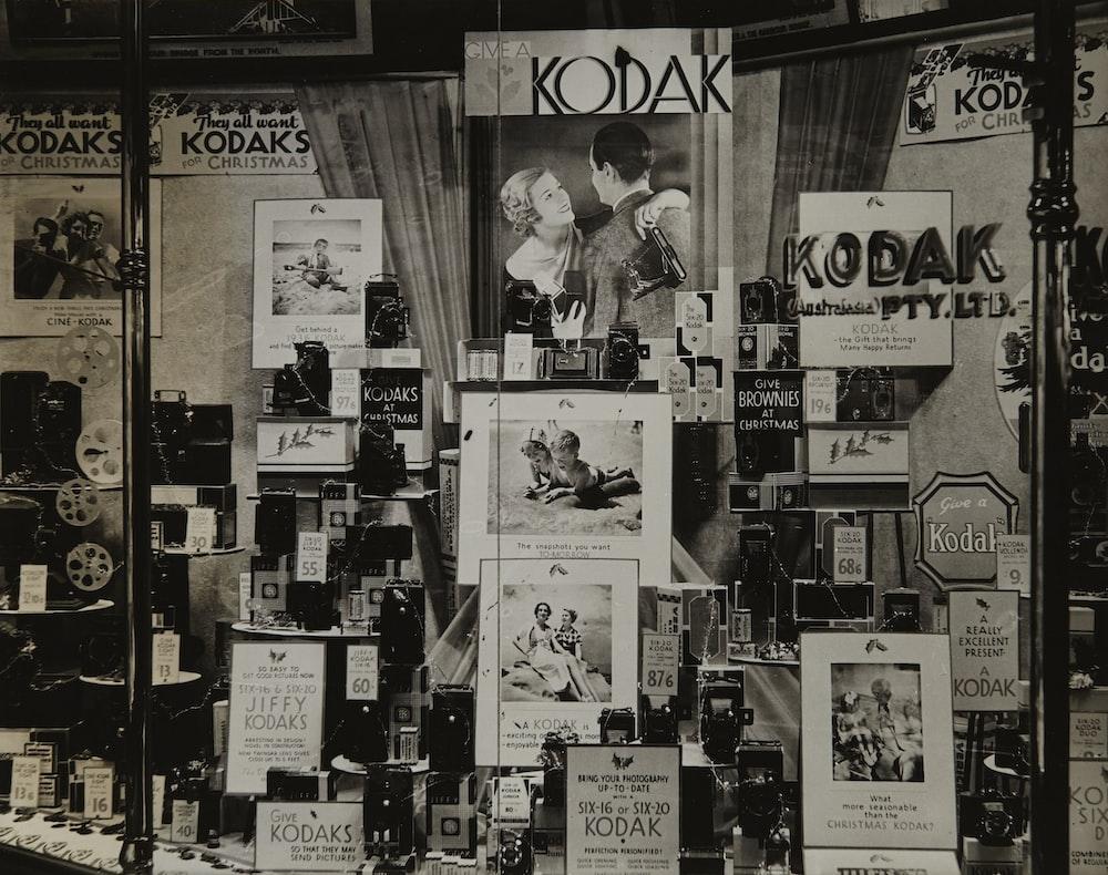 grayscale photography of Kodak photo collection