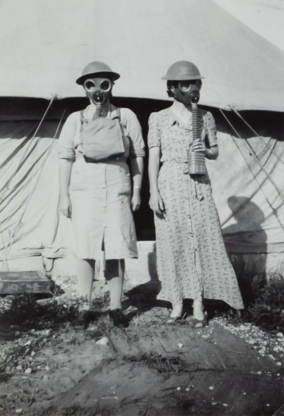 Nell Duncanson and Isabel Plante Wearing Gas Masks, Israel, World War II, 1939-1943