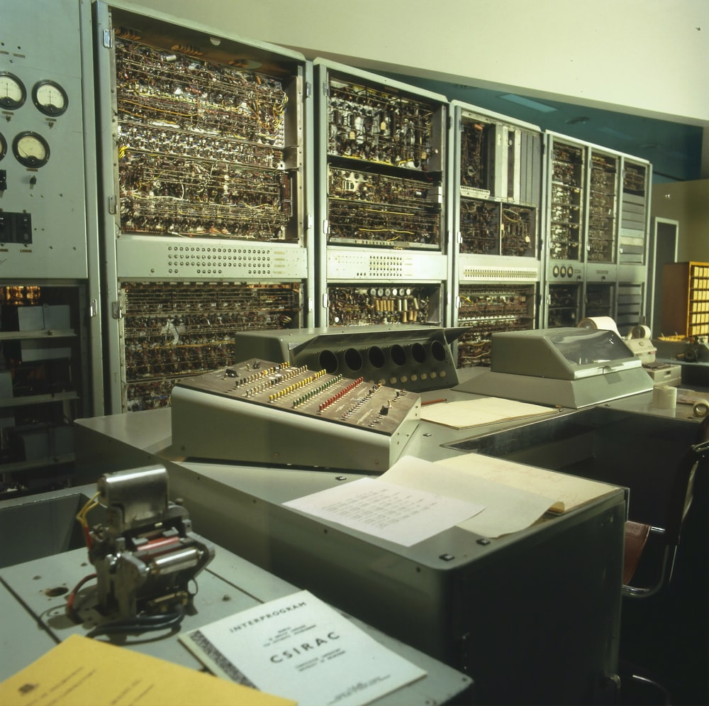 classic gray computer components on desk
