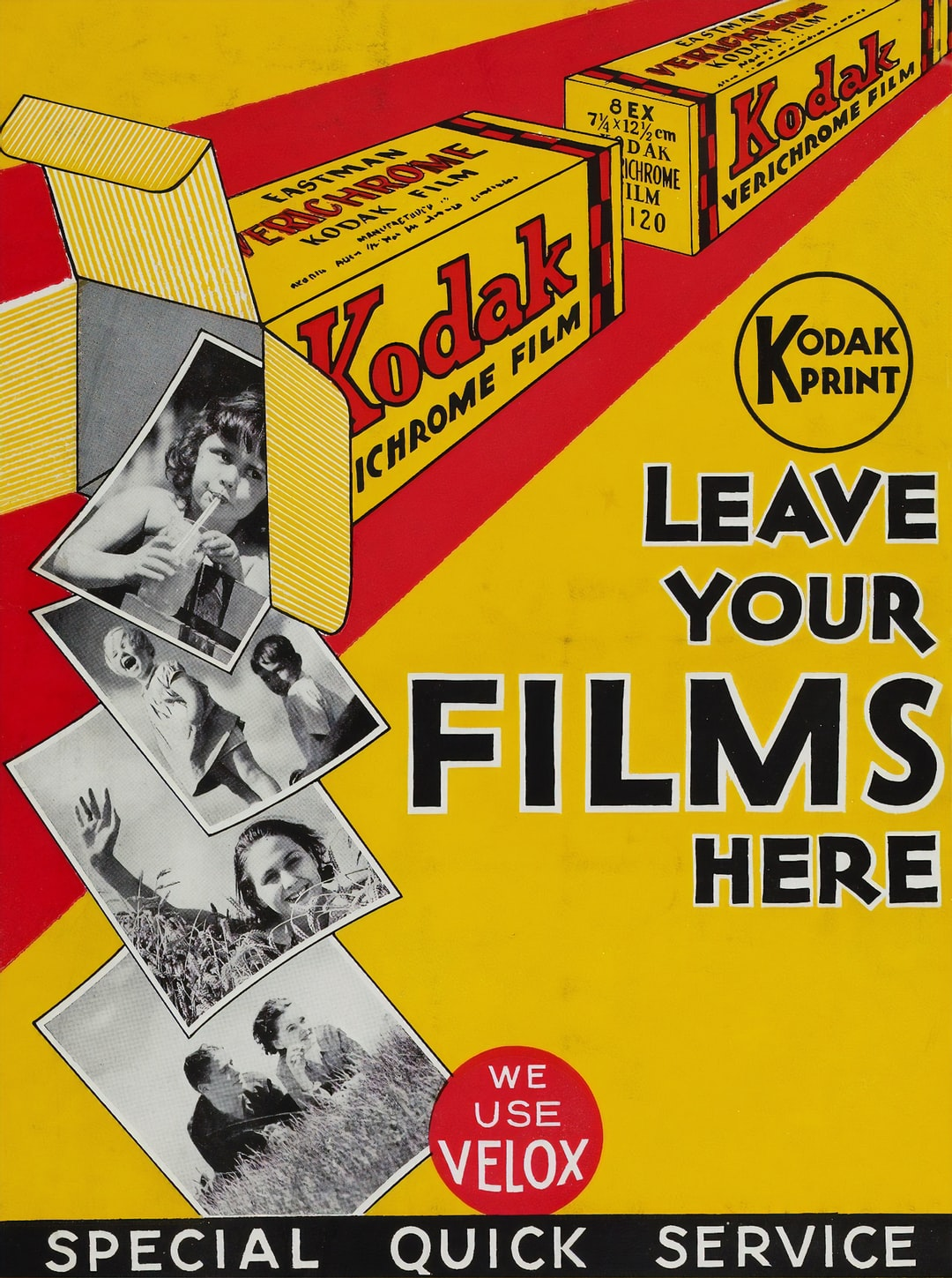 Poster - 'Leave Your Films Here' Museums Victoria Courtesy of Kodak (Australasia) Pty Ltd https://collections.museumvictoria.com.au/items/1382983