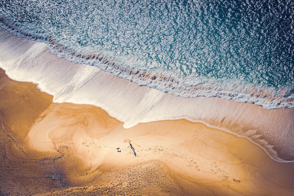 high-angle photo of seashore