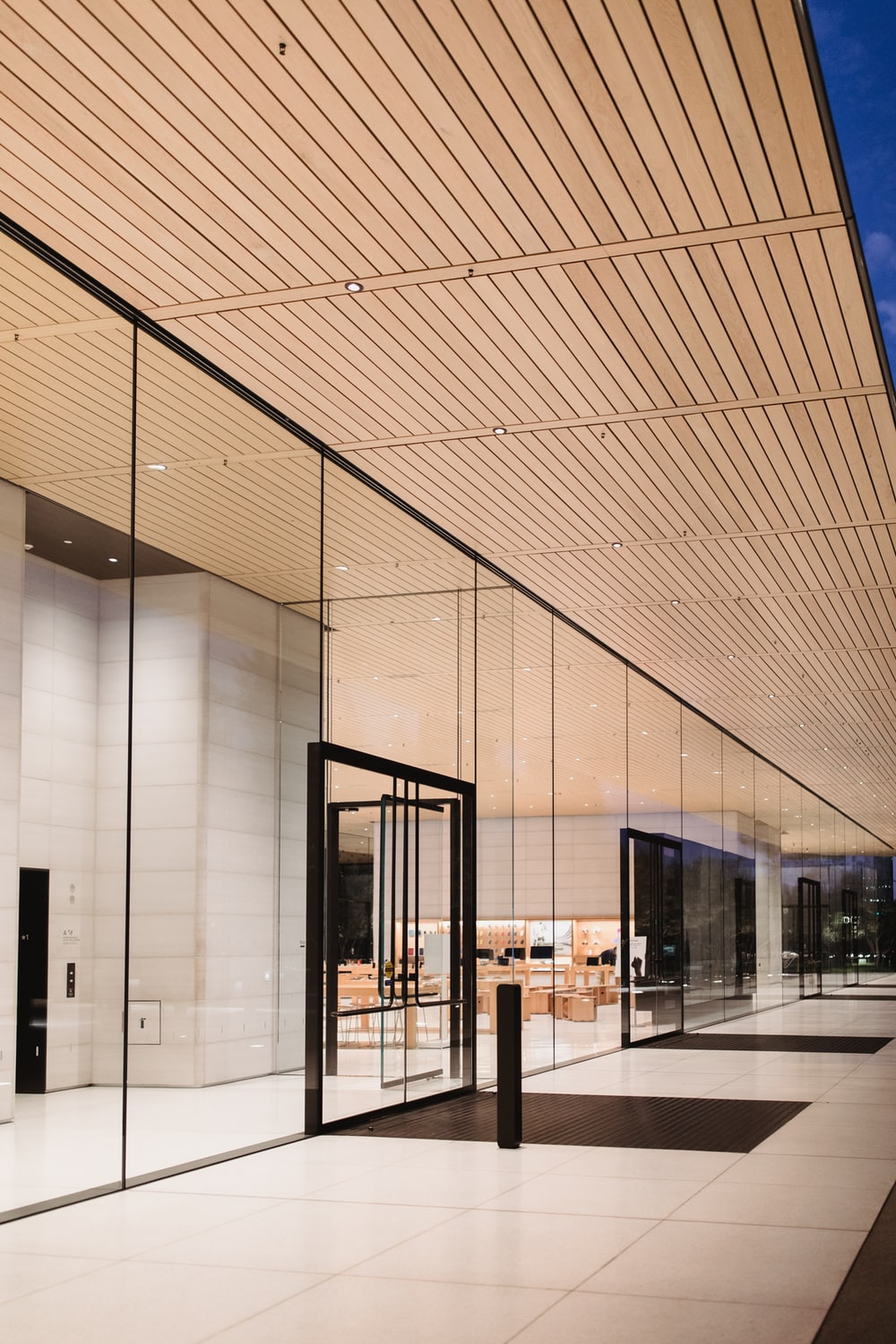 clear glass wall building interior