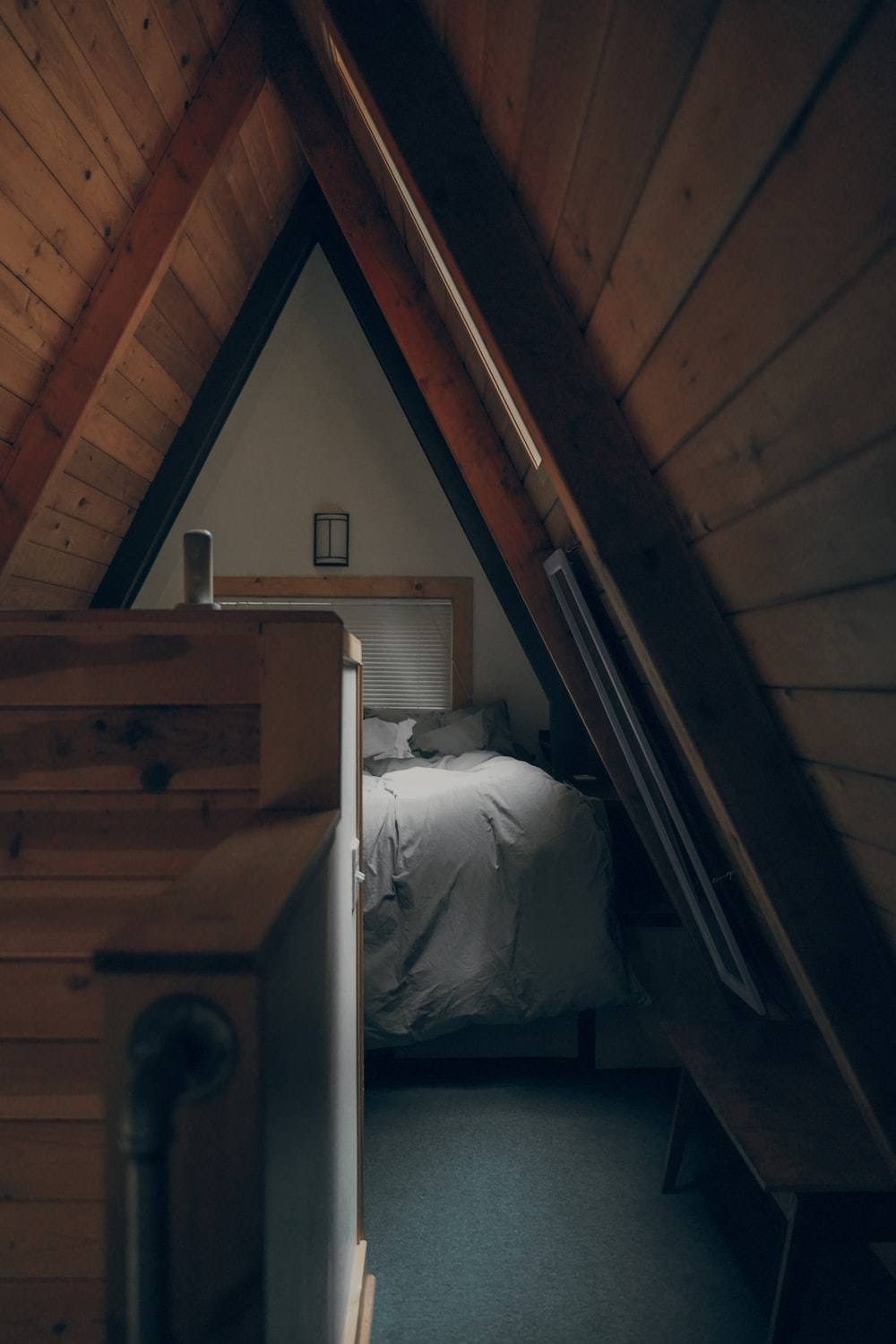 in distant photo of bed