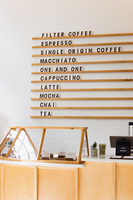 inside coffee shop showing menu