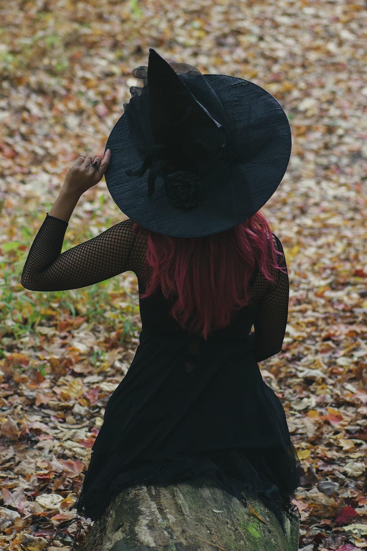 women's black long-sleeved dress