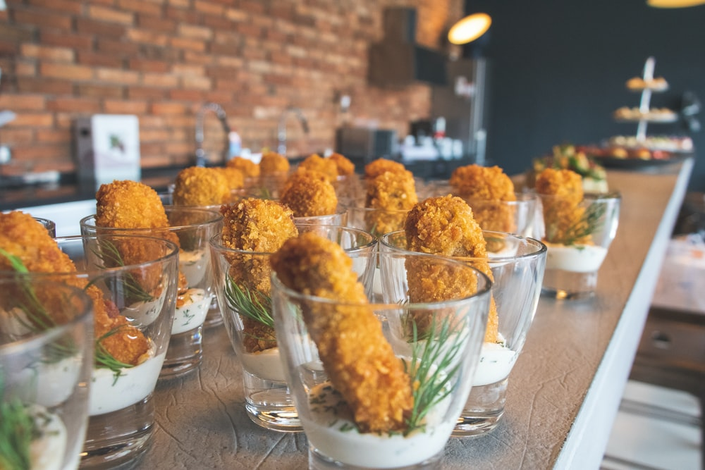 fried meats in glass cup