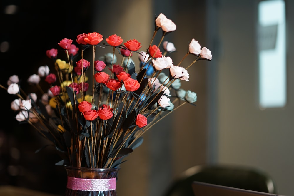 red and white flowers decor