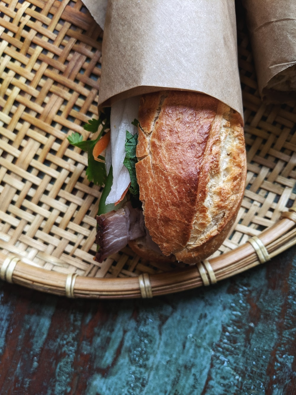 bread on brown woven tray