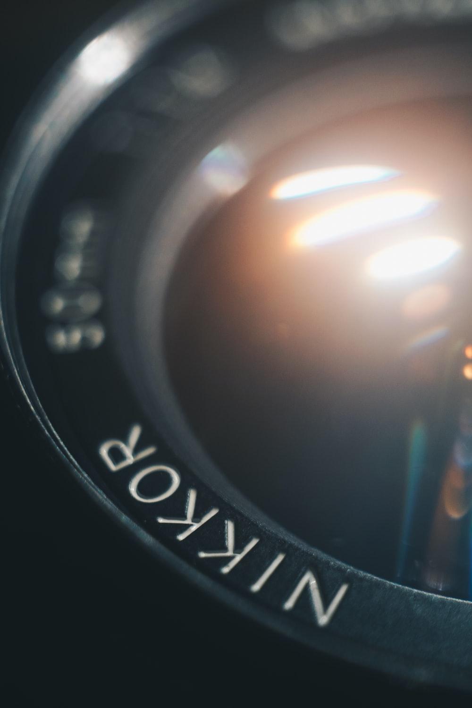 close view of Nikkor camera lens