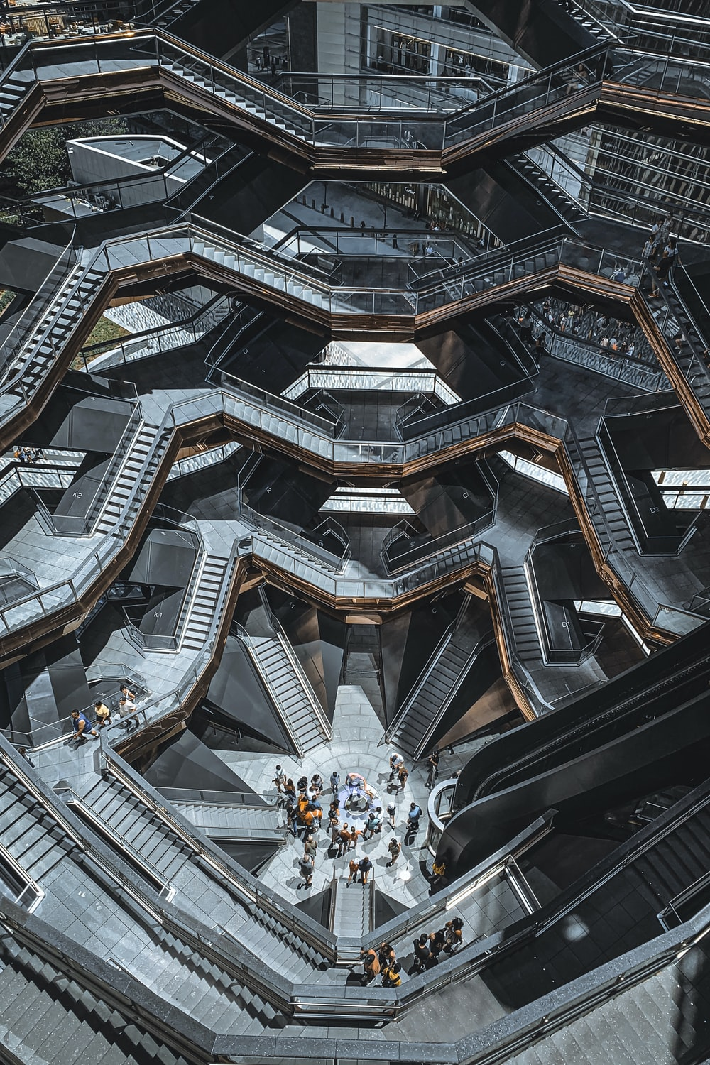 people using gray stairs