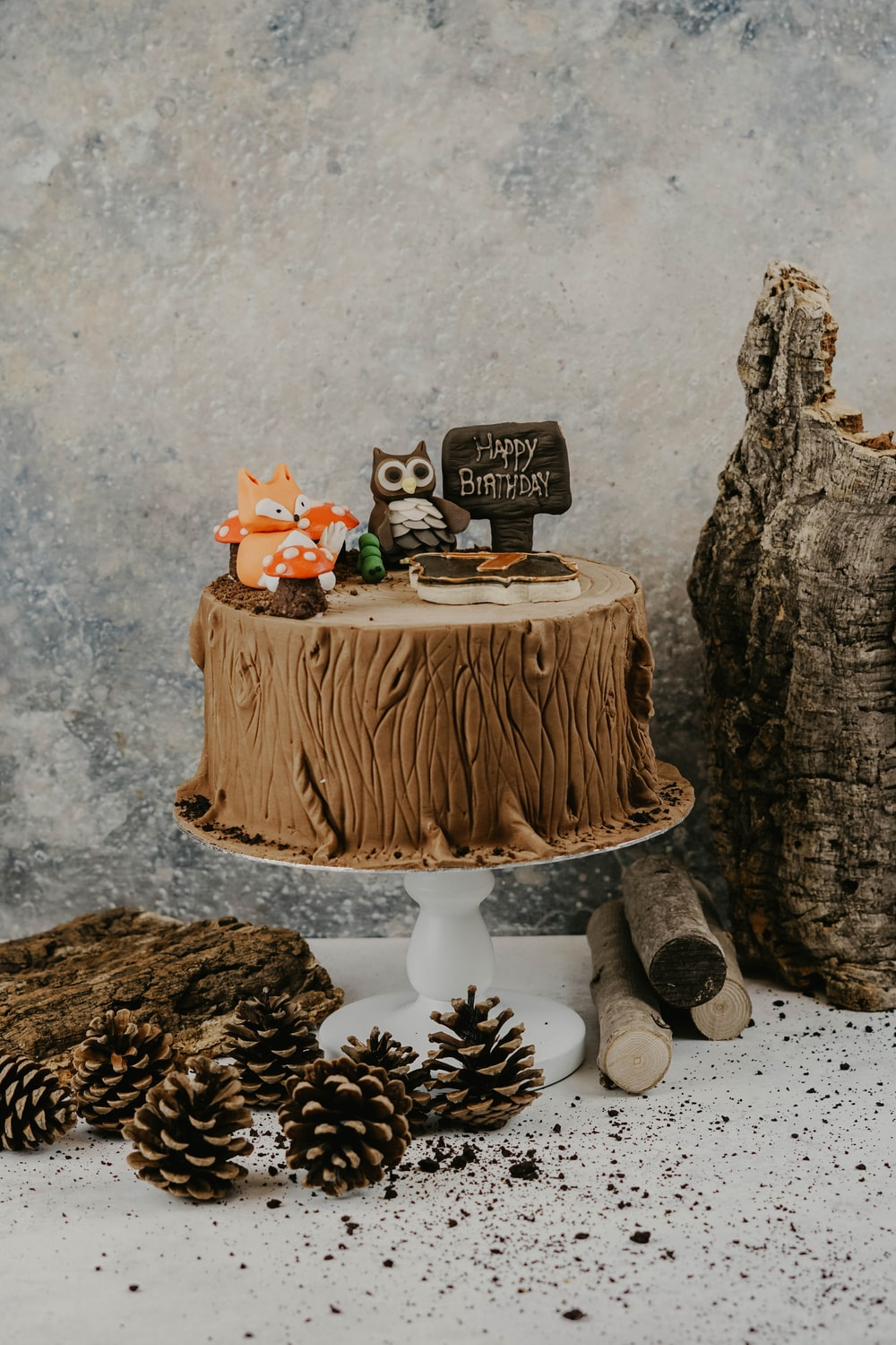 brown and white wooden table decor