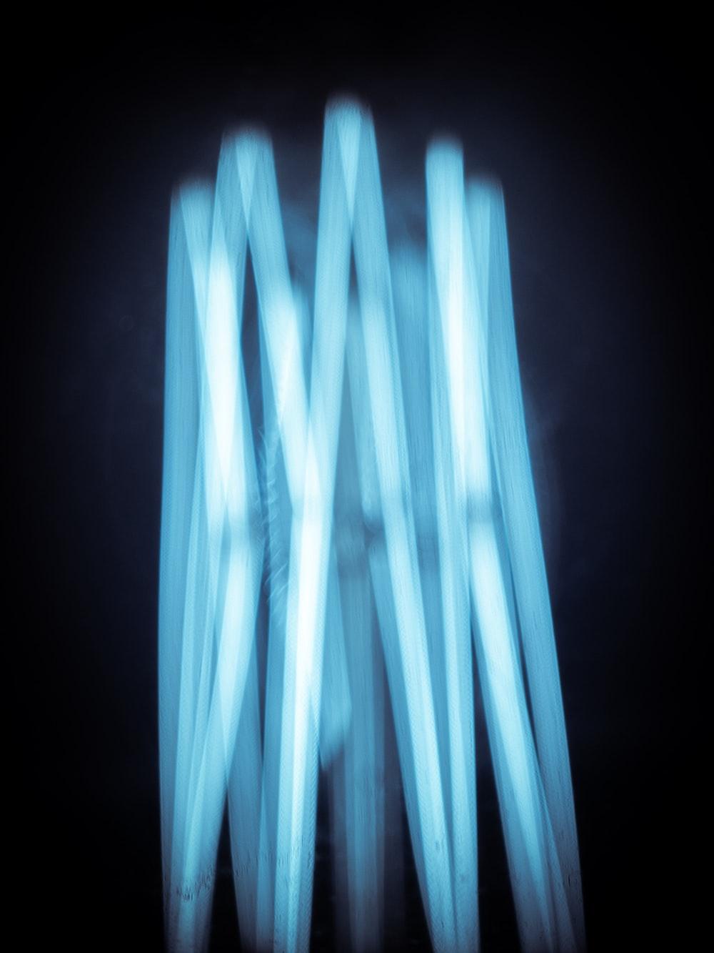 turned-on blue LED light fixture