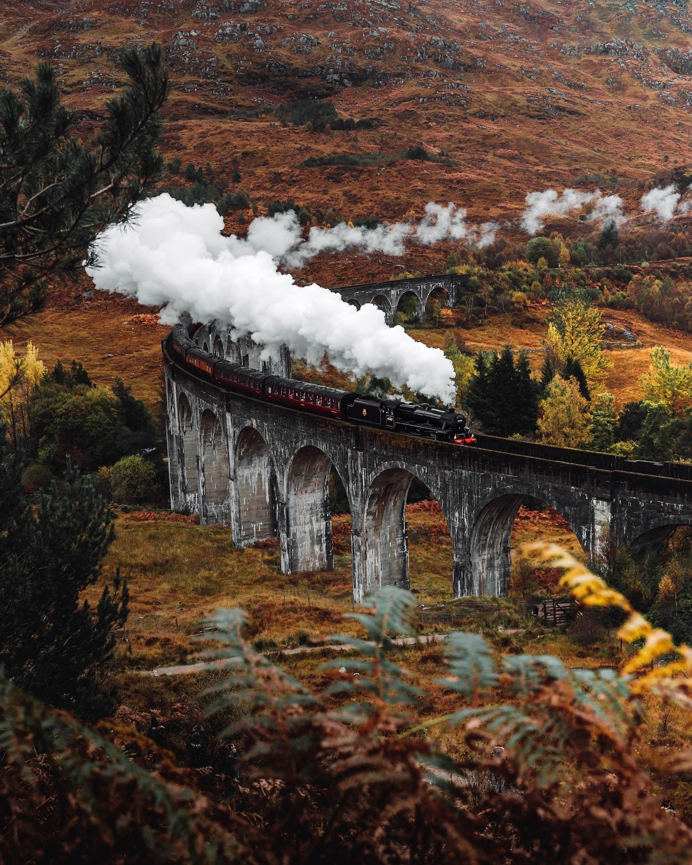 Vision Scotland. aerial photo of black train during daytime