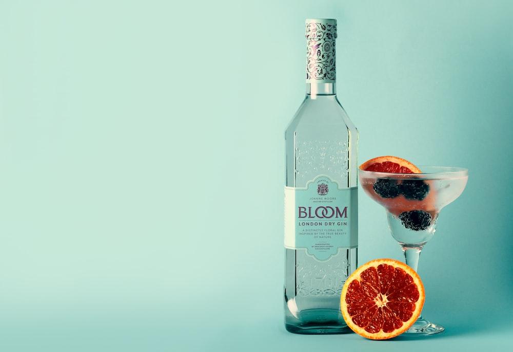 Bloom bottle beside margarita glass