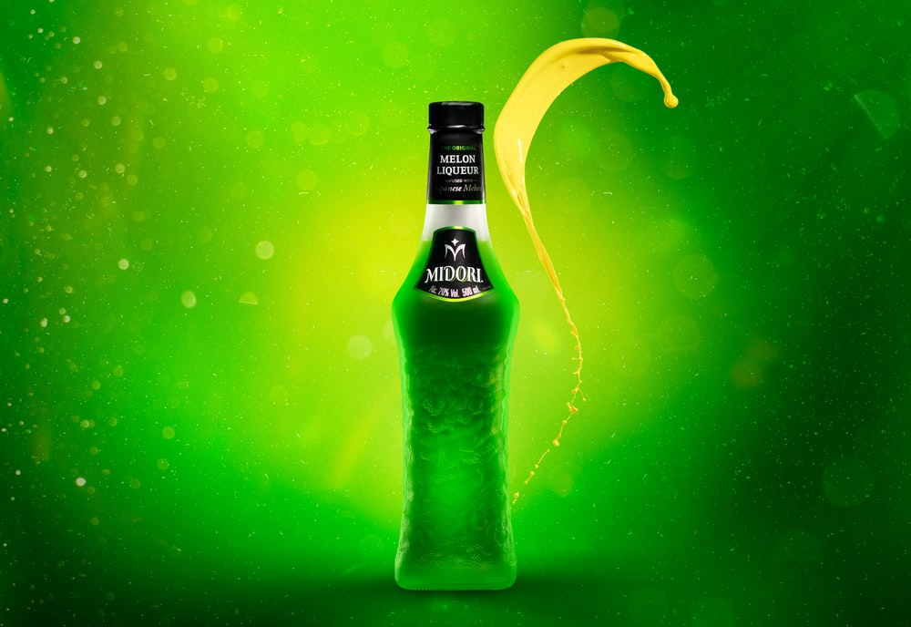 green labeled bottle
