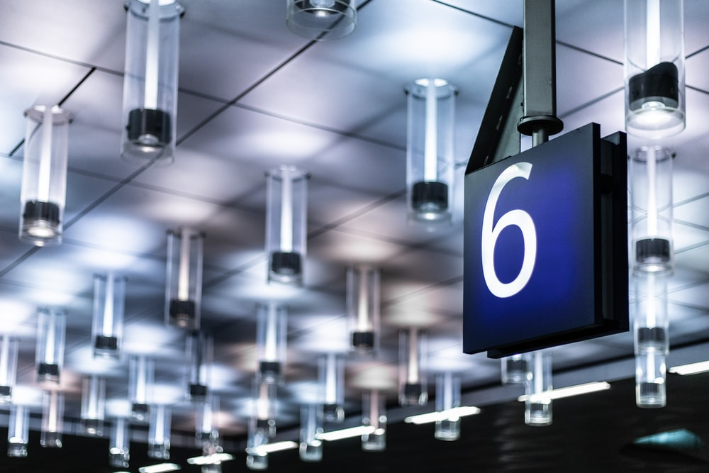 ceiling with number 6 sign