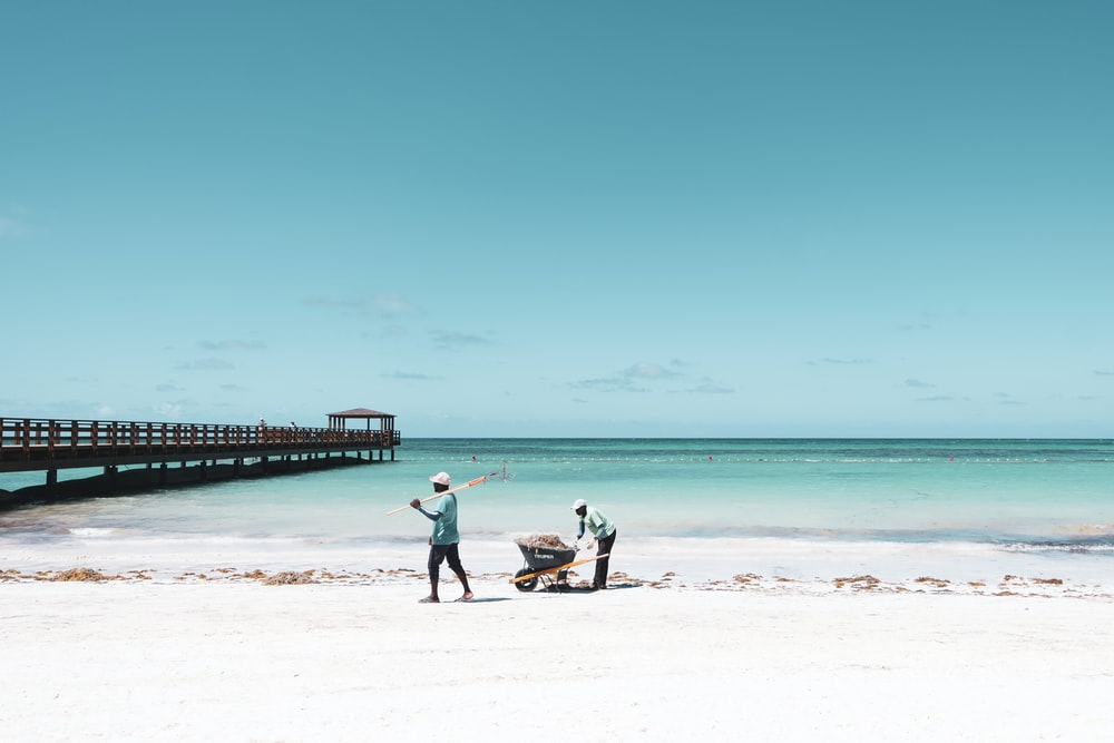 two people pushing wheelbarrow on seashore