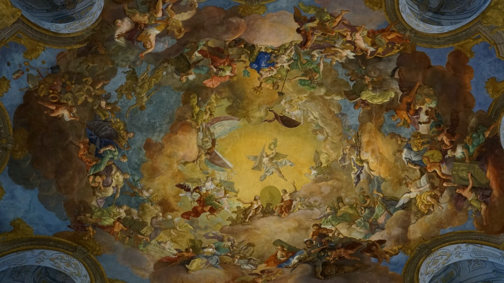 low angle view of Gothic painting at the ceiling