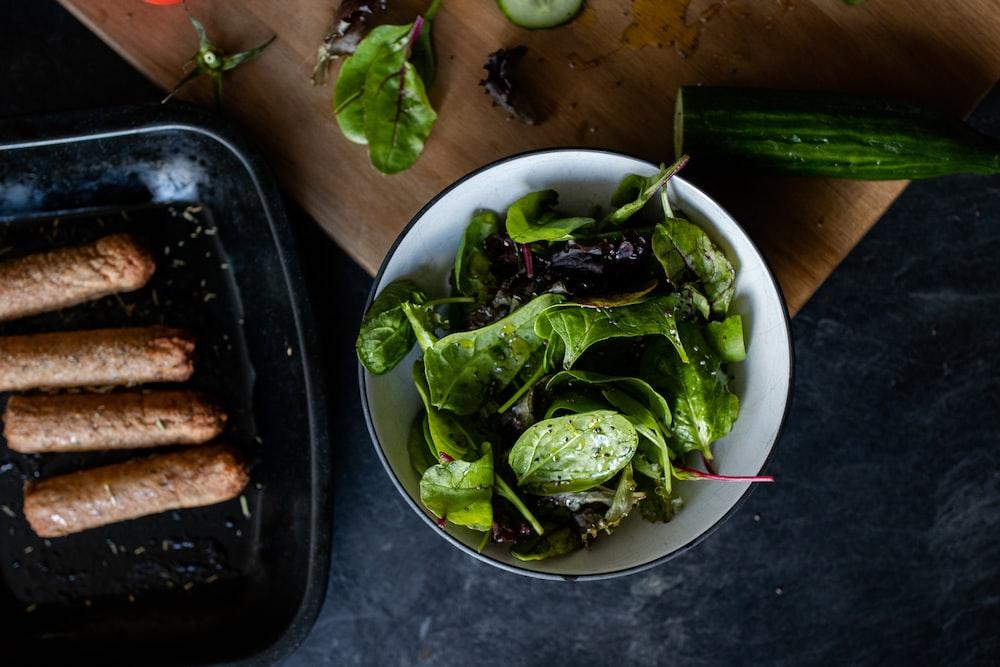 green vegetable on bowl