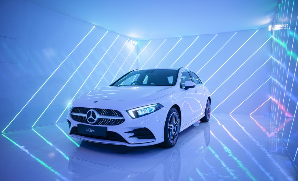 white Mercedes-Benz vehicle