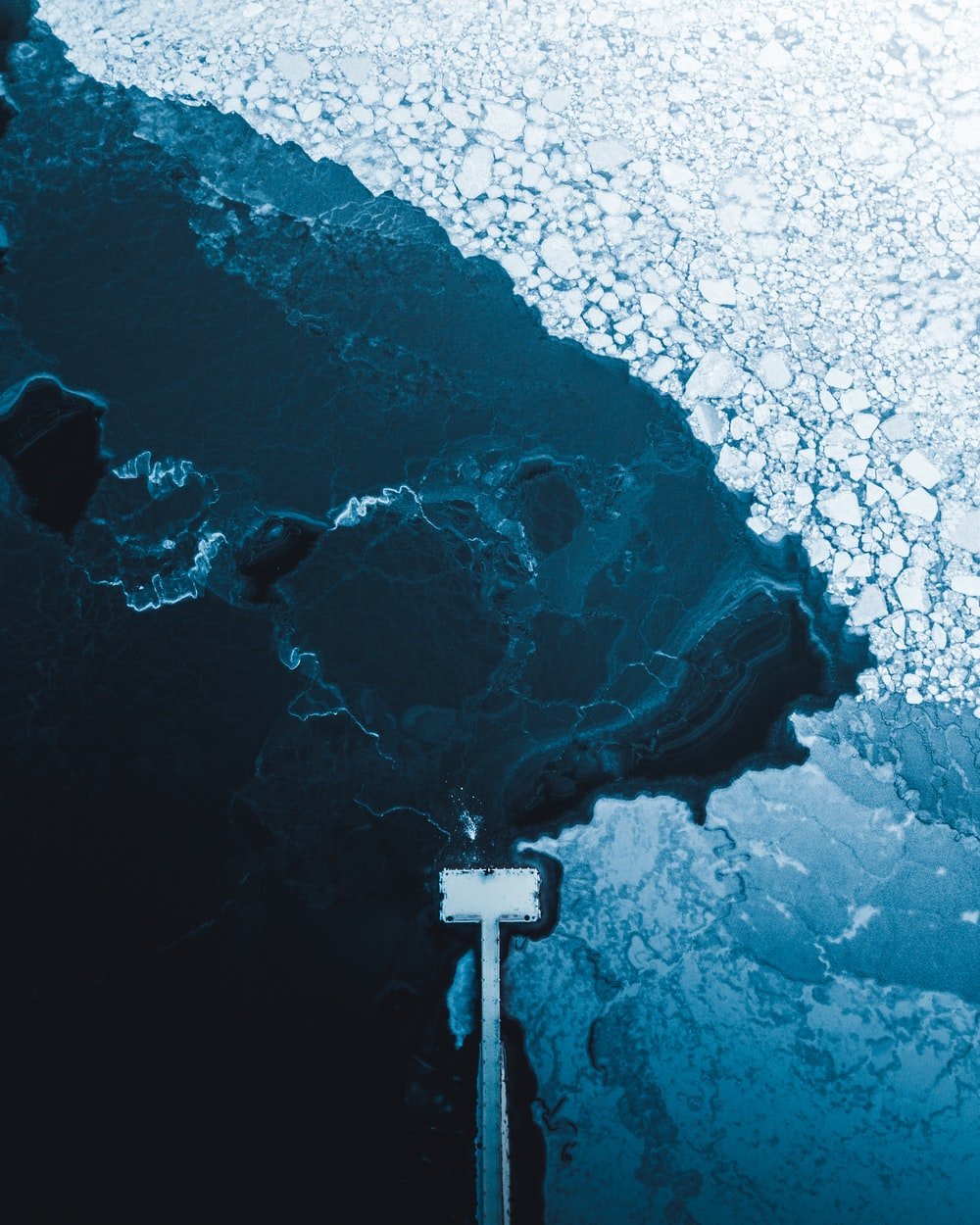 body of water and ice