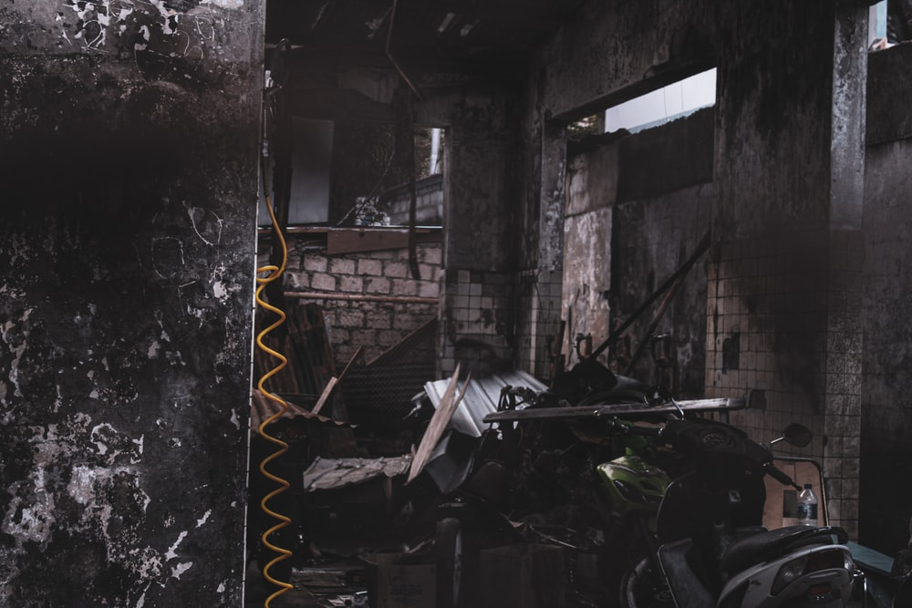 destroyed brown house view