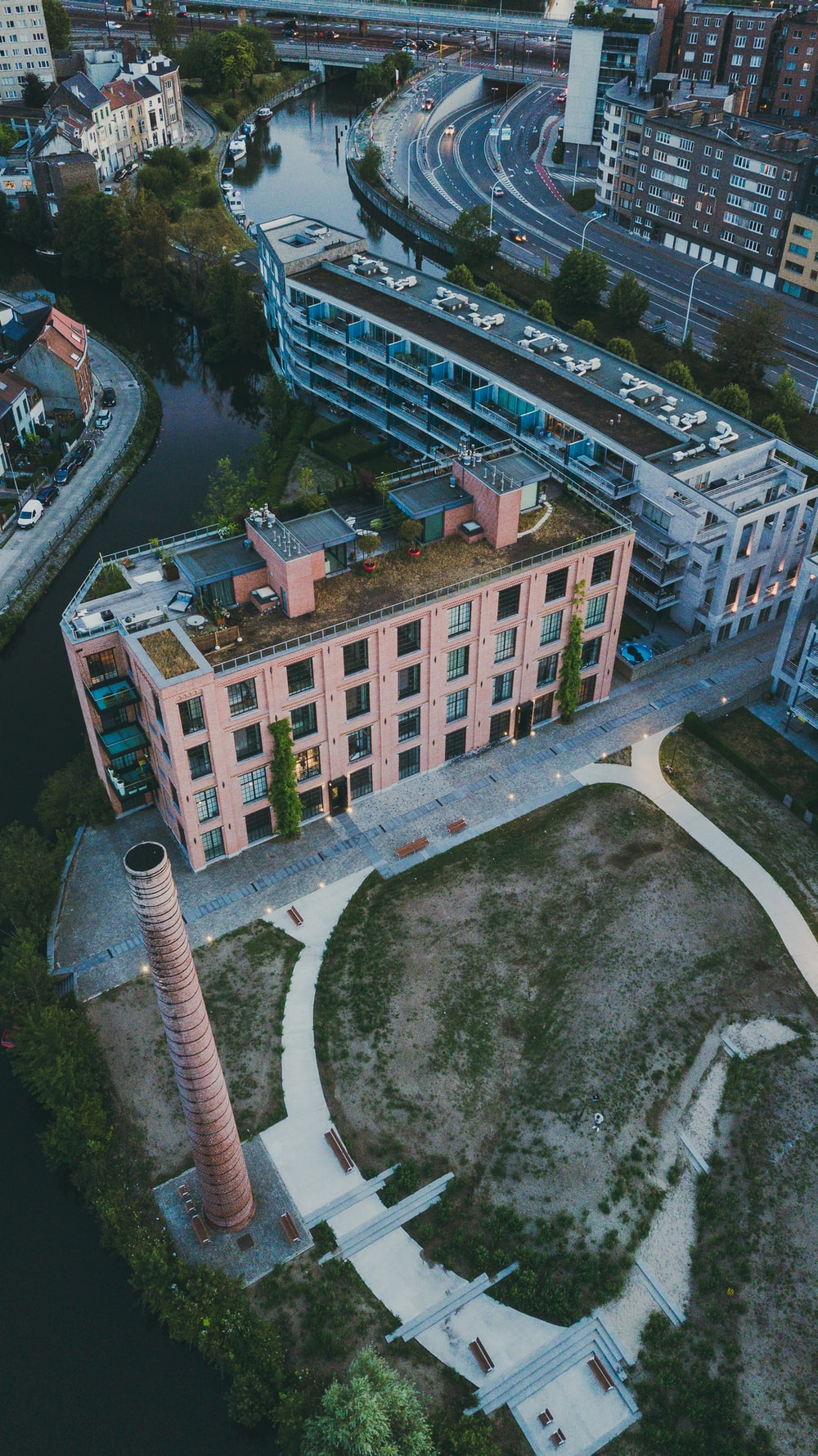 aerial photography of brown building