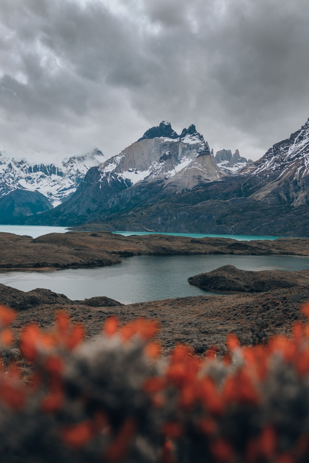 A different view of Torres del Paine, you can see the differents colors of lakes and mountains, Patagonia