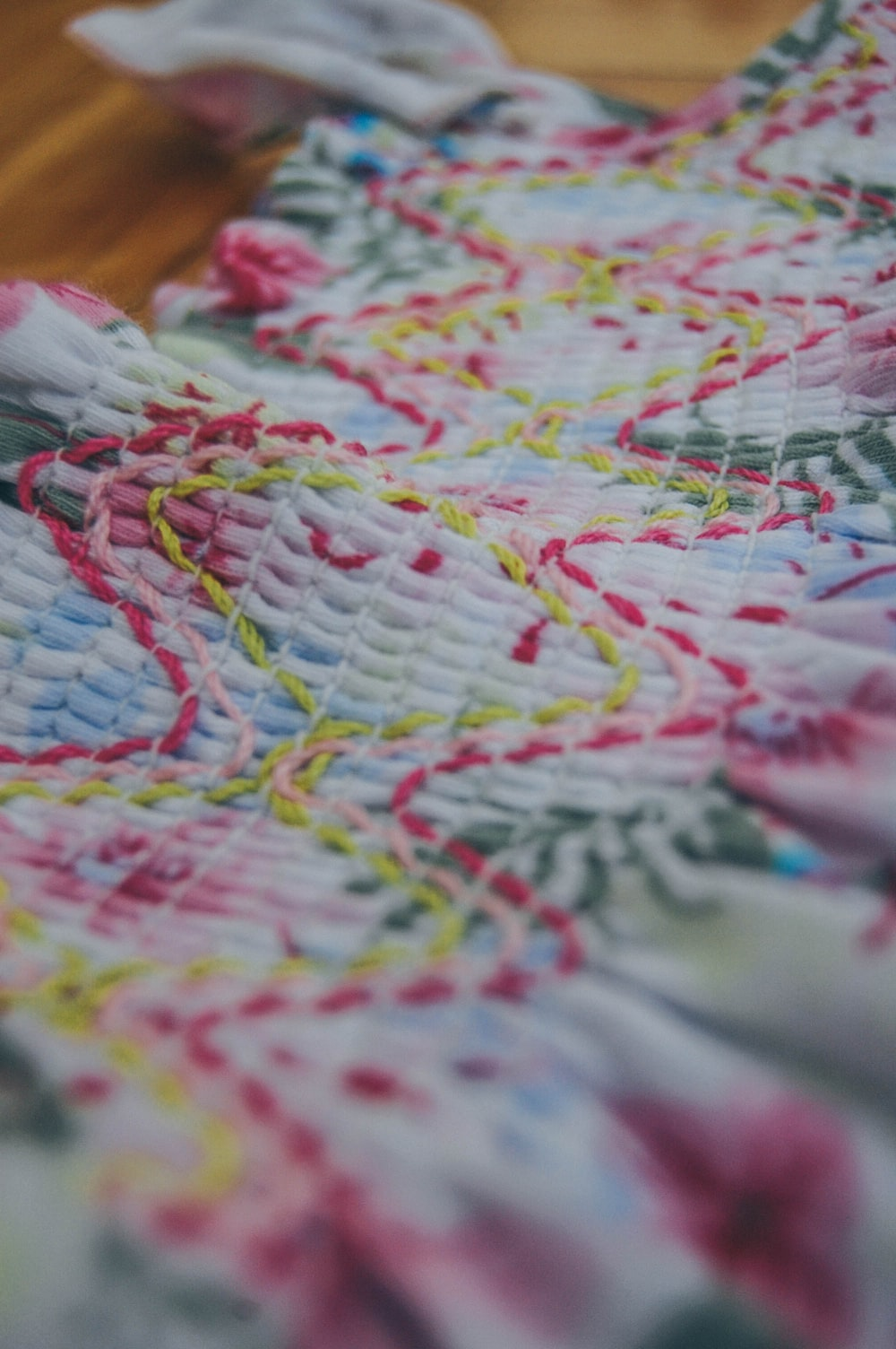 pink and blue textile